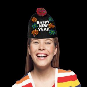 LED Light-Up Knitting Happy New Year Fireworks Hat