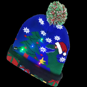 LED Light-Up Knitting Christmas Dinosaur Gift Box Hat