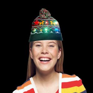 LED Light-Up Knitting Christmas Ginger Man & Fawn Hat