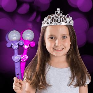 "9"" Light-Up Spinning Princess Wands"
