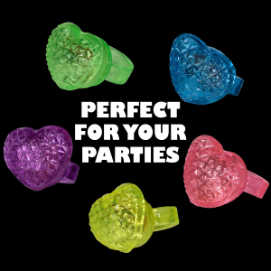 LED Light Up Jelly Heart Rings