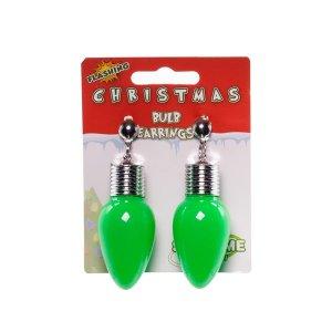 LED Green Bulb Clip-On Earrings (Per pair)