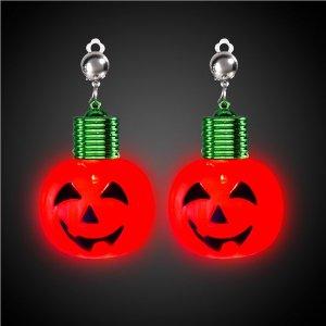 LED Jumbo Pumpkin Clip-On Earrings (Per pair)