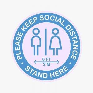 Please Keep Social Distance People Floor Decal