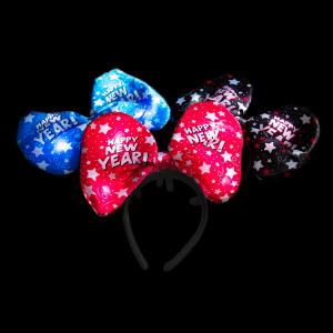 "10"" New Years Light-Up Bow Headbands"