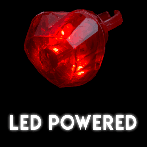 Light Up Jumbo Heart Rings - Red