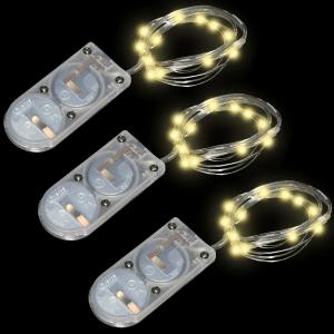 20 Inch Silver Short Wire Fairy Lights - Warm White