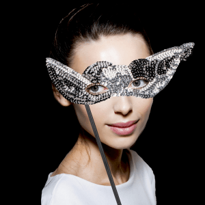 "8"" Sequin Mask with Stick- Black & Silver"