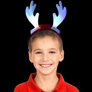 """10"""" Light-Up Holiday Reindeer Antlers (Red)"""