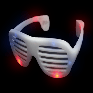LED Flashing Red White and Blue Patriotic Shutter Shades