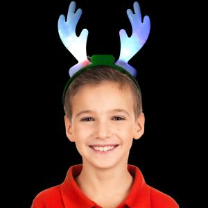 "10"" Light-Up Holiday Reindeer Antlers (Green)"