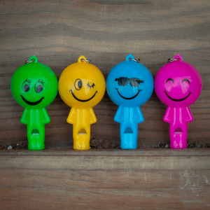 """2"""" Light-Up Smiley Whistle Keychains"""