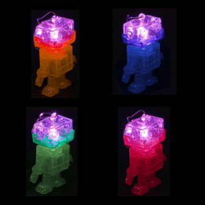 """2"""" Light-Up Flashing Android Robot Keychains"""