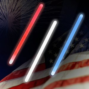 "12"" Jumbo Light sticks -Red, White & Blue (60 Pack)"