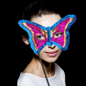 "8"" Sequin Mask with Stick- Pink, Gold, & Blue"