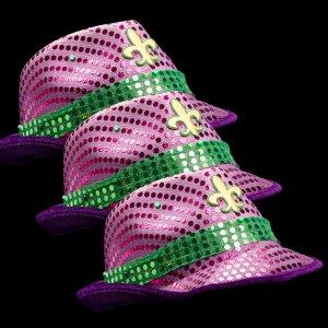 Light-Up Sequined Fleur De Lis Hat