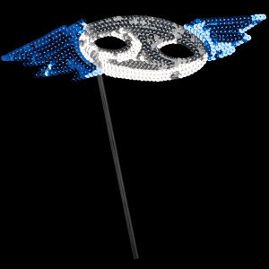 "8"" Sequin Mask with Stick- Blue & Silver"