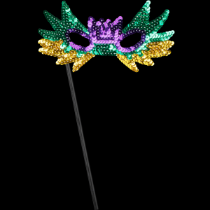 """8"""" Sequin Mask with Stick- Green, Purple, & Gold"""
