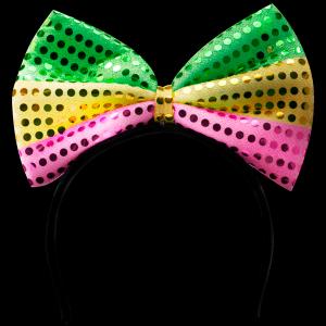 """6"""" Flashing Mardi Gras Bow Headband"""
