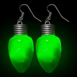 "2"" Flashing Bulb Shape Earrings- Green"