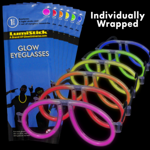 Glow Eyeglasses - Aviator - 8 Color Mix (Individually Wrapped)