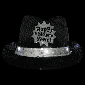 Light-Up Happy New Year Sequined Fedora