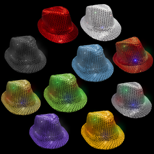 LED Flashing Sequined Fedoras