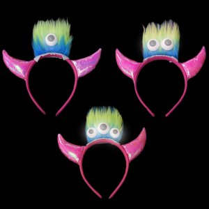 LED Light-Up Big-Eyed Demon Horn Jewelry Headband