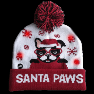 LED Light-Up Knitting Christmas Santa Paws Hat