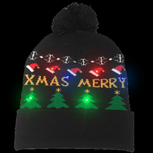 LED Light-Up Knitting Merry Christmas Hat