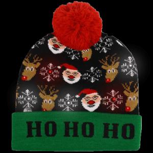 LED Light-Up Knitting Christmas Ho Ho Ho Hat