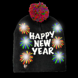 LED Light-Up Knitting Happy New Year Fireworks Hat