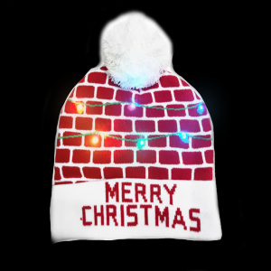 LED Light-Up Knitting Merry Christmas Warmly House Hat