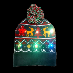 LED Light-Up Knitting Christmas Ginger Man & Fawn Hat
