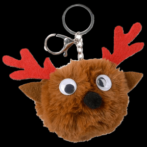 """3"""" Holiday Reindeer Pom Pom Keychain"""