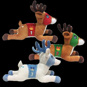 "15"" Racing Reindeer Plush- Assorted"