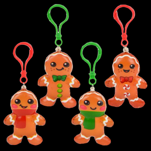 """2.75"""" Squish Gingerbread Cookie Clip On- Assorted"""