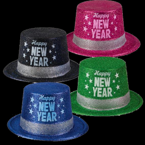 "11"" Happy New Year Glitter Top Hat- Assorted"