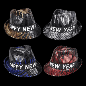 Happy New Year Sequin Fedora- Assorted