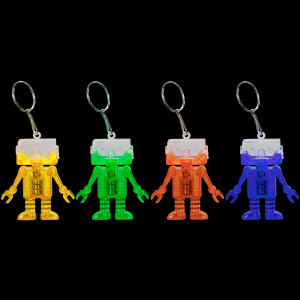"2"" Light-Up Flashing Android Robot Keychains"