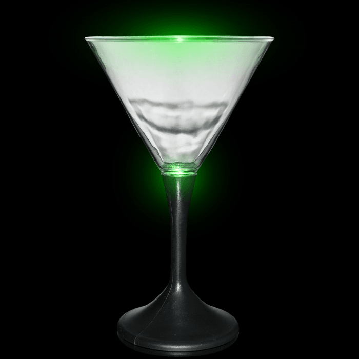 LED Light Up Martini Glass Black Stem - 7oz