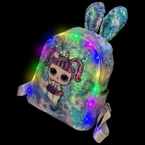Sequined Outdoor Surprise Doll Backpack-Blue Sequined