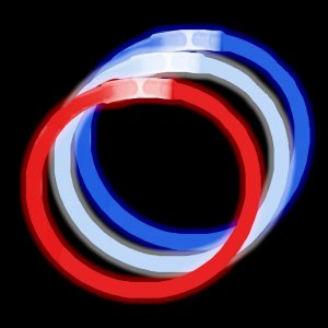 "8"" Glowsticks Bracelets -Red, White & Blue (300 Bracelets Pack)"