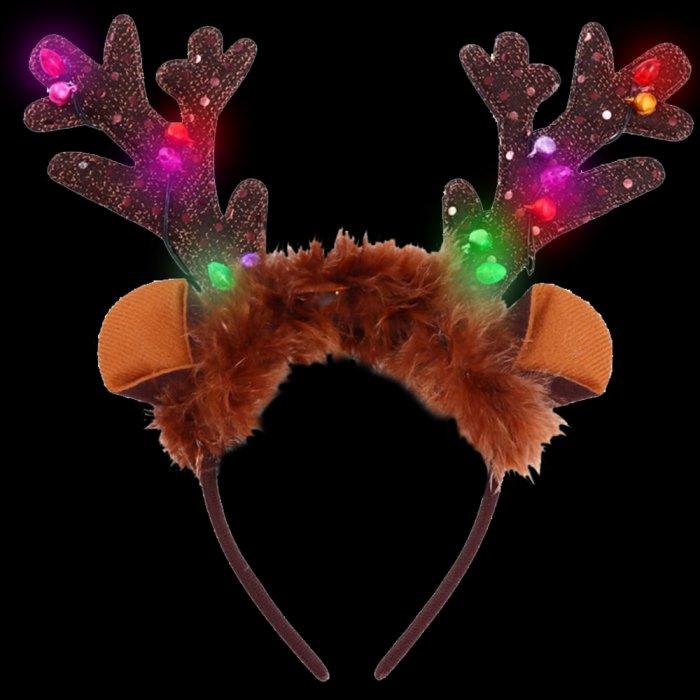 Christmas Glowing Antlers Headband With Bells
