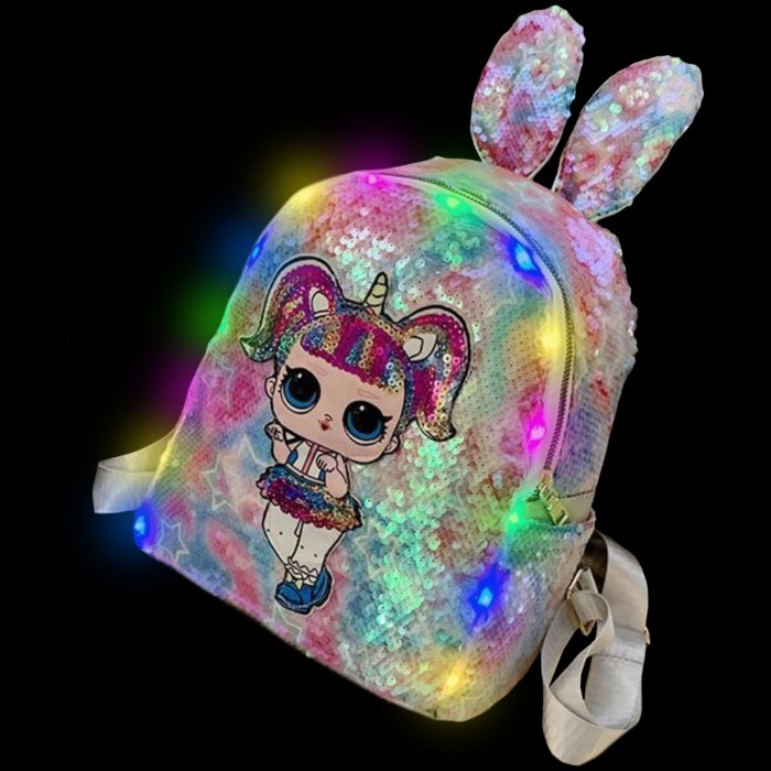 Sequined Outdoor Surprise Doll Backpack-Pink Sequined