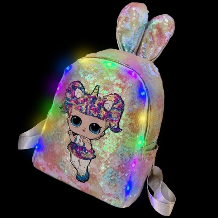 Sequined Outdoor Surprise Doll Backpack-Yellow Sequined