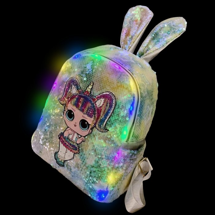 Sequined Outdoor Surprise Doll Backpack-Green Sequined