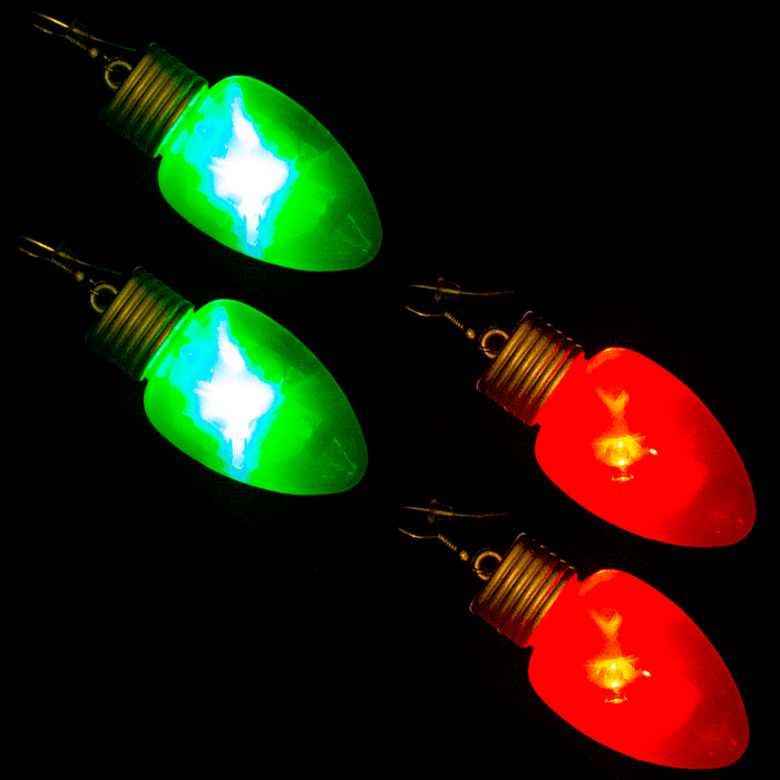 "2"" Flashing Bulb Shape Earrings"