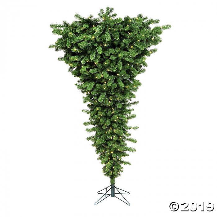 Upside Down White Christmas Tree: Vickerman 7.5' Green Upside Down Christmas Tree With Warm