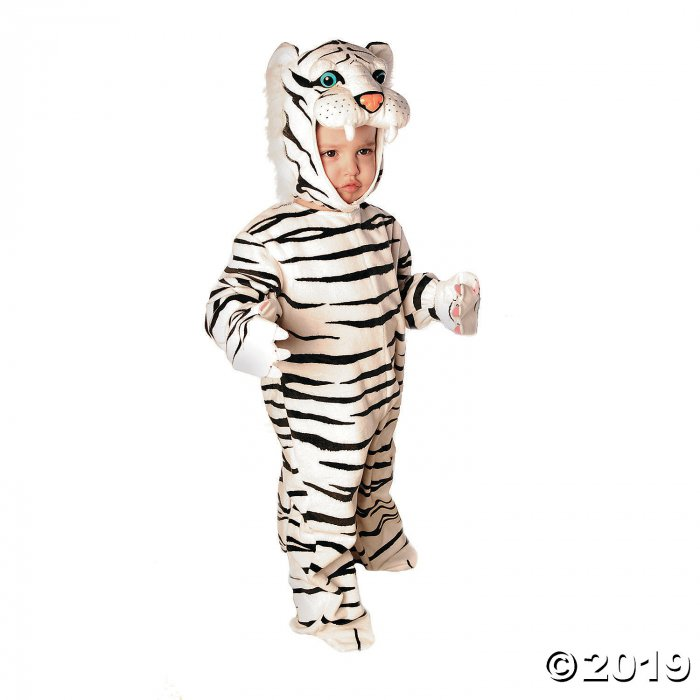 Baby/Toddler White Plush Tiger Costume - Small (1 Piece(s))